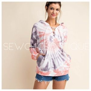 Two-Tone Tie Dye Waffle Knit Lace-up Hoodie